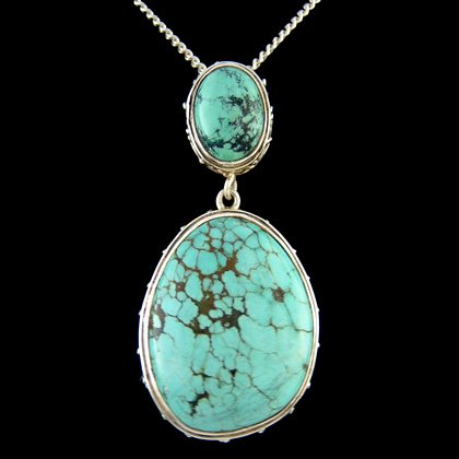Turquoise & Silver Pendant - Freeform Twin Oval (25mm)