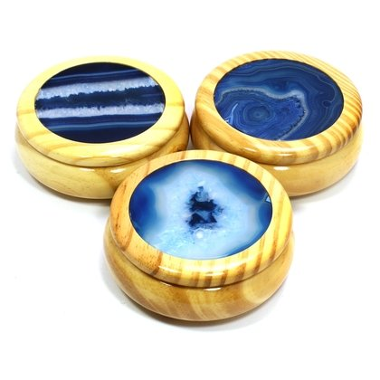 Wooden Jewel Box ~ Blue Agate, Large