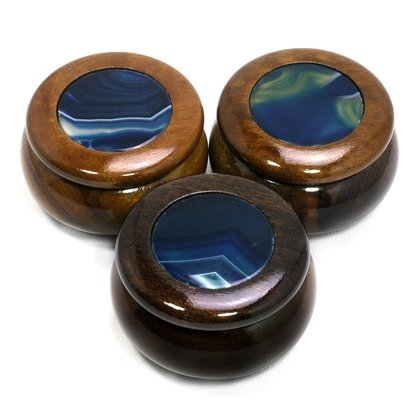 Wooden Jewel Box ~ Blue Agate, Small